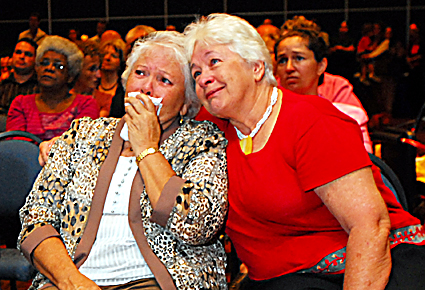 Historic ... emotions overwhelm Bea Ballangarry (left) and Delia Gormley yesterday. PHOTO: TREVOR VEALE