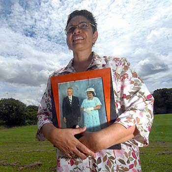 Vanessa Stevens-Blackman from Nambour with a photo of her parents Alec and Marjorie Stevens who were members of the stolen generation. Photo Warren Lynam/172718