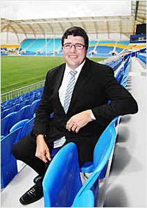 GREAT EXPECTATIONS: Gold Coast Titans managing director Michael Searle, taking time out at Skilled Park, Robina, the new home o