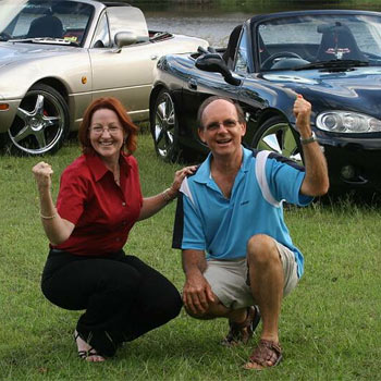 MX5 Club chapter leader Wanda Davis and Prostrate Cancer Support Group member Alan Keetley joyful after the cheque presentation. Photo: Robyne Cuerel / 172644b