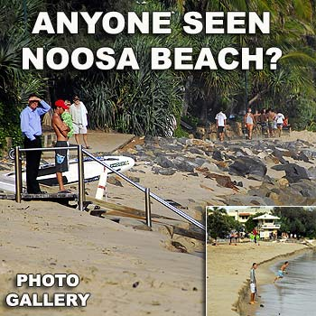 Big seas and high tides cause beach erosion at Noosa's Main Beach. Photo by Geoff Potter