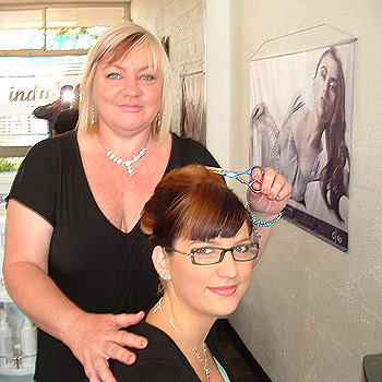 Judy McCulloch is an apprentice hairdresser under the watchful eyes of her daughter Stevie at her Peregian salon.
