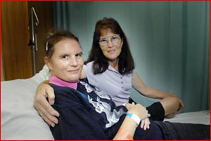 Meegan Harrison-Philbey is recovering in Toowoomba Hospital with mum Glennis Philbey by her side.