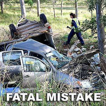Young driver Vincent Jouen's mother and younger sister were killed in this accident north of Gympie last November. He was fined yesterday$1000 for driving without due care and attention.