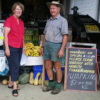 Division 9 Coolum and Hinterland candidate Vivien Griffin with Kelvin Yarrow, whose farm is being resumed for a council dump.