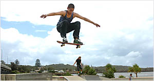 AIR BORNE: Wylie Spencer, 18, of Ballina, pulls off some big air at the Ballina Skate Park.