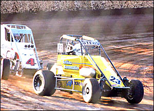 SPEED DEMON: Mark Stanger, in car 23, leads Tony Brearley at the recent Australian Championships at Maryborough.