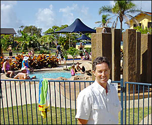HE'S SMILING: Ballina's Lakeside manager Gerald Searle is pleased with the numbers at his holiday park over Easter. Picture: DA