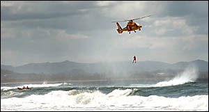 HELP FROM ABOVE: The Westpac Helicopter was called into action during the retrieval of the drowned man at Belongil Beach. Pictu