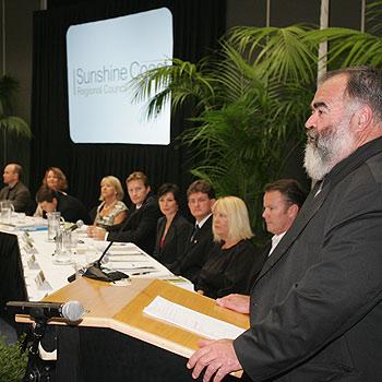 Mayor Bob Abbot addresses the inaugural meeting of the Sunshine Coast Regional Council at the Innovation Centre at the University of the Sunshine Coast. Photo: Brett Wortman/bw173861p