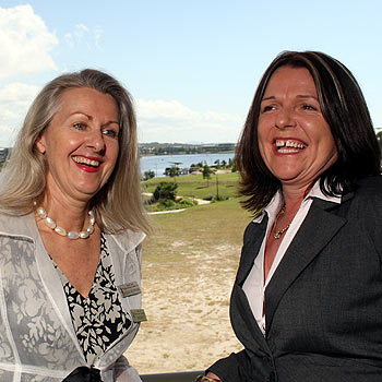Sunshine Coast Business Women's Network president Karen Neuendorf, left, with the 2007 Sunshine Coast Business Woman of the Year Vicki Clark, will stand down as president in early June. Photo: Jason Dougherty/174040