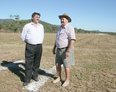 Melbourne developer George Stathopoulis of Thalassa Property Division Pty Ltd with former owner of the land, Bill Deicke.