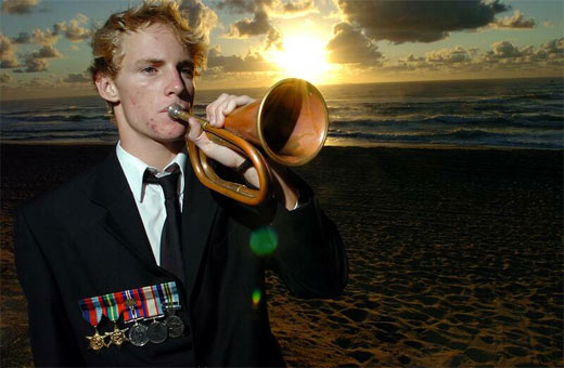 Anzac Day Dawn Service at Kawana. Billy Schnitzerling who played the first post and his great grand-father was in the war. Photo: Cade Mooney / 165517d