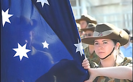CORPORAL Lauren Hinshaw, 16, of the 41st Battalion in Lismore, led the Lismore Anzac Day march.