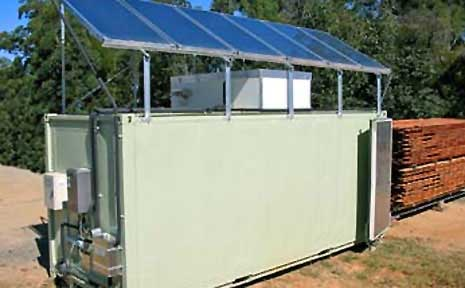 One of the solar drying sheds made by Alan Bishop and Roger Burke.