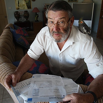 Mooloolah pensioner Bob Allen's recent electricity bill from AGL failed to give him the pensioner discount and wrongly charged him the ambulance levy. Photo: Michaela O'Neill/174438