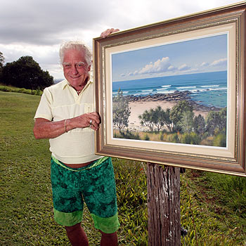 Artist Ken Wenzel with one of his paintings. Magistrate Barry Barrett this week dismissed an unlawful exposure charge brought against him and awarded him costs of $2000. Photo: Jason Dougherty/174416