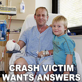 Motorcycle accident victim Stephen Vlatko-Rulo, with three-year-old son Elijah, wants witnesses to come forward as he has no recollection of the accident that left him in hospital. Photo: Barry Leddicoat/174497b