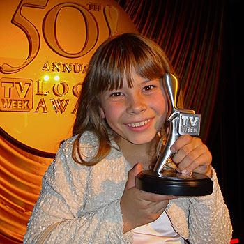 Australia Zoo's Bindi Irwin clutches the Logie award she won for Most Popular New Female Talent.