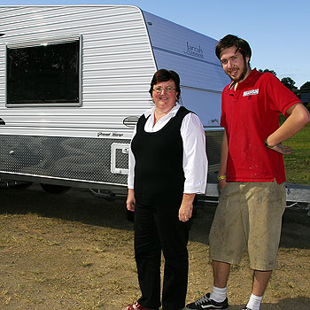 Janelle Hasler and her son Michael, with one of the Jarrah caravans produced at their Cooroy factory. Photo: Geoff Potter/N20399