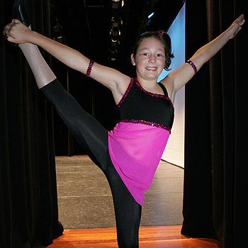 Samantha Lanham after her first solo performance at the Sunshine Coast Dance Eisteddfod at the Caloundra Events Centre. Photo: Brett Wortman/bw174566