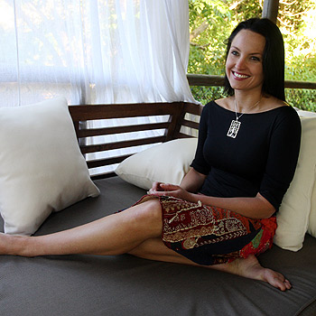 Rachel Gordon, who stars in Australian soap Home and Away, relaxes her tired legs at her Eumundi home after completing a fundraising trek along the Great Wall of China. Photo: Cade Mooney/174576