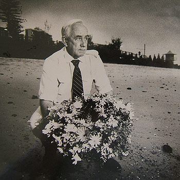 Centaur survivor Dick Medcalf lays a wreath at Point Danger for the 268 who perished when the hospital ship was destroyed by a Japanese Torpedo on May 14, 1943.
