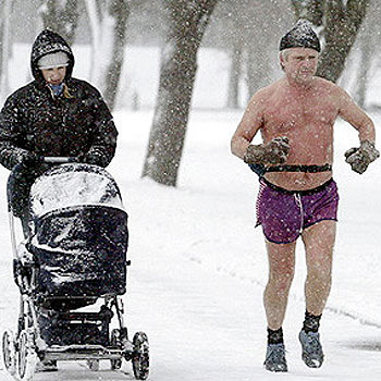 You don't have to go to this extreme, but it is possible to stay true to your exercise regime in winter.