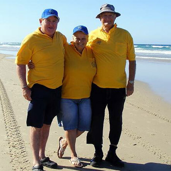 Mark Hayter, Anita Grigg and Tony Lee at the proposed site for a nudist beach north of Coolum. Photo:   174493b