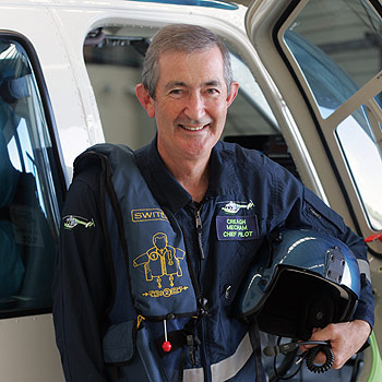 Energex Community Rescue Helicopter service chief pilot Creagh Mecham has an aviation career that spans more than three decades. Photo: Brett Wortman/174750