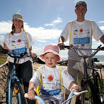 Rebecca, Sian and Justin Bailey will take part in the Ride For Life. Photo: Jason Dougherty/ 174755