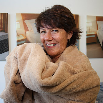 Sue Handenham, of Mainlinen, says microfibre super soft blankets are becoming more popular because they are adaptable, warm and can be used by allergy sufferers. Photo: Nicholas Falconer/174709