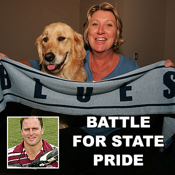 Jenny Hoffman and her dog Storm will be cheering for New South Wales tonight, while Billy Moore, inset, has definite allegiances to Queensland. Jenny's son Ryan Hoffman plays for the Melbourne Storm.