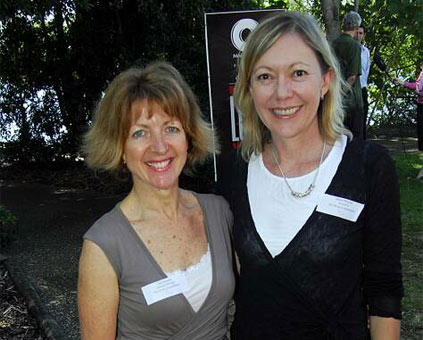 Gail Hewton and Karen Mitchell attend the Noosa  Longweekend launch at the Regional Gallery.
