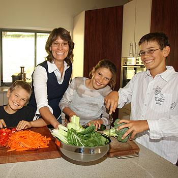 Sabrina Freudenmann and her children Benjamin, seven, Deborah, 10, and Manuel, 12, are all vegetarian. Photo: Nicholas Falconer/174735