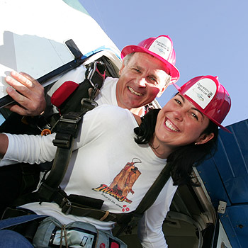 Sami Muirhead and Sunshine Coast skydiving instructor Tibor Glesk get ready to take a leap from the sky as part of Operation Rescue on June 1 at Stockland Park. Photo: Chris McCormack/174823