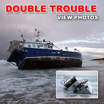 Two boats ran aground in separate accidents along Kawana Beach - a long line fishing boat called Magus from Sydney ran aground near Point Cartwright and a smaller boat at Warana. Photos: Cade Mooney