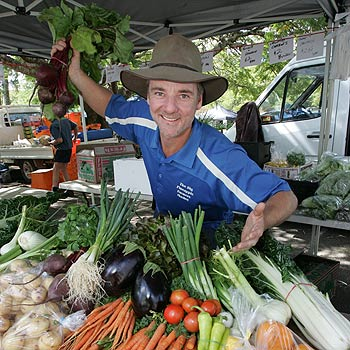 Organiser of the Maroochy Farmers Markets Shane Stanley reckons we are paying too much for our fruit and vegies at retail outlets. Photo: Brett Wortman/174956