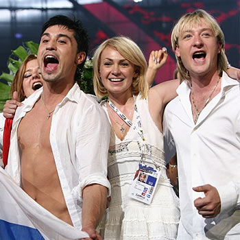 Russia celebrates as singer Dima Bilan takes the Eurovision Song Contest top honours for 2008. Photo: eurovision.tv