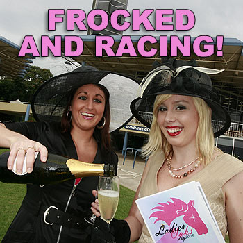 Kylie Jarrett (left), wearing an outfit from Expressions at Caloundra, and Shantel Payne, wearing exclusive Myer label Review, get ready for Ladies Oaks Day. Photo: Barry Leddicoat/175046