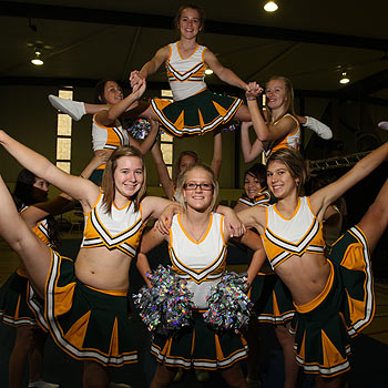 Maroochydore State High School cheerleading students in training. Photo: Cade Mooney/175031