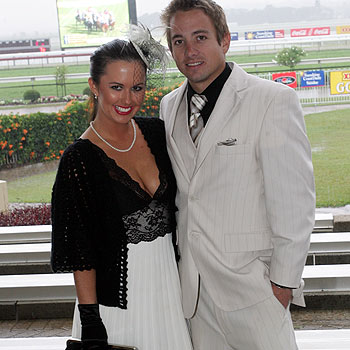 Fashions on the Field best-dressed couple winners Stacey Krebbin and Ben Greenslade of Peregian at Ladies Oaks Day. Photo: Chris McCormack/175098