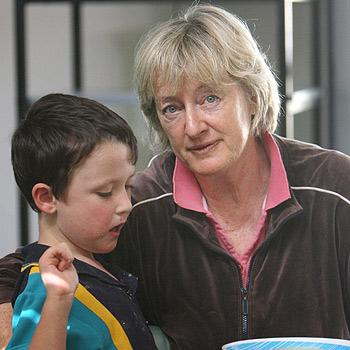 Special needs teacher Margo Howard with Jhett Adamson at the Currimundi Special School. Photo: Michaela O'Neill/174905