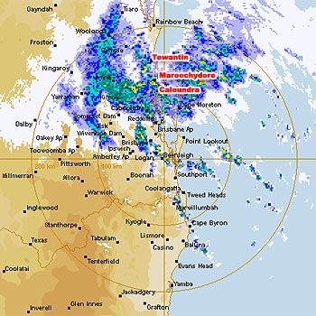 A Bureau of Meteorology radar image showing the heavy rain soaking the south-east.
