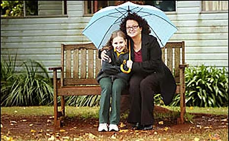 IT'S WET: Wollongbar Primary School student Carlie Yager and her library teacher Mary McKay huddle under their umbrella for a photo in the rain.