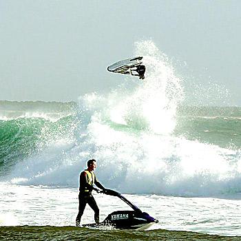 Jet-ski riders get extreme in 1.5m swells at the Mooloolah River mouth. Photo: adam@sunshinesurfsafari.com.au