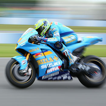 Yandina's Chris Vermeulen and his Suzuki were boxed out by other riders at the 2008 Italian MotoGP at Mugello.