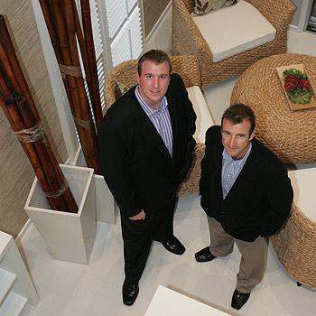 Adenbrook Homes directors Robert, left, and Bill Douglas at their new display home at Pelican Waters. Photo: Brett Wortman/175051