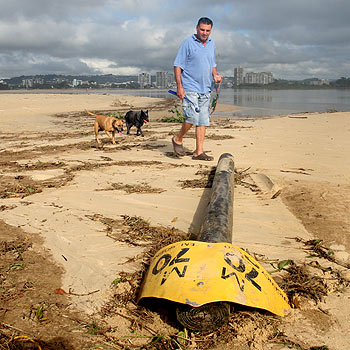 Pat McAuliffe, who regularly walks along the north shore with his dogs Missy and Tess, says the mouth has altered significantly in the past two months. Photo: Nicholas Falconer/175155