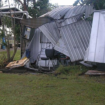 The Coolum Breakers' equipment sheds were damaged by Sunday night's storms.